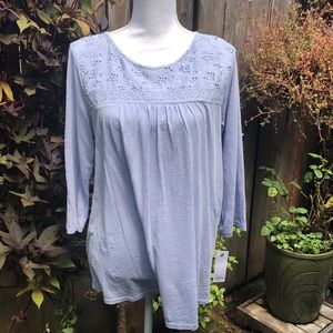 NWT Sonoma Blue 3/4 Length Sleeve Top  D15